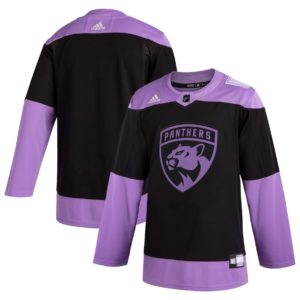 Men's Florida Panthers  Black Hockey Fights Cancer Practice Jersey